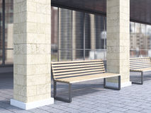 Bench between columns. Bench under portico between columns. City view. Concept of bus stop. 3D rendering Royalty Free Stock Photos