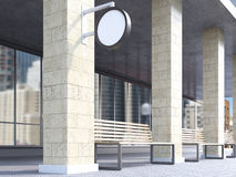 Bench between columns. Bench under portico between columns, round signs on columns. Side view. Concept of bus stop. Mock up. 3D rendering Royalty Free Stock Photos