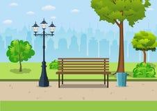 Bench con l'albero e la lanterna nel parco Fotografia Stock Libera da Diritti