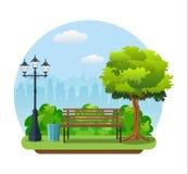 Bench con l'albero e la lanterna nel parco Fotografie Stock Libere da Diritti