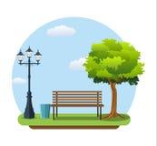 Bench con l'albero e la lanterna nel parco Illustrazione Vettoriale