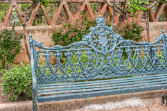 Bench and Cottonwood seeds, Tlaquepaque in Sedona, Arizona Stock Photography