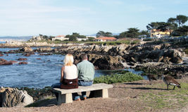 Bench Couple. Older couple sitting on a bench Royalty Free Stock Image