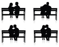 Bench and couple. Stock Photos