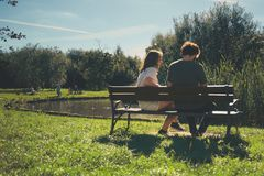 Bench, Couple, Daylight Stock Photos