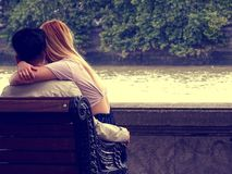 Bench, Couple, Hugging Royalty Free Stock Images