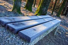 Bench covered by hoarfrost Stock Photography