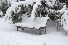 Bench covered with snow in Sofia, Dec 29, 2014 Stock Photography