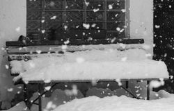 Bench Covered by Snow Stock Photo
