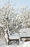 Bench covered with snow Royalty Free Stock Photo