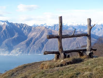 Bench craft with lake view Royalty Free Stock Image