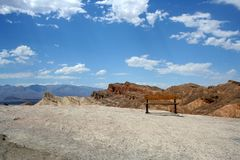 Bench in Death valley Stock Image