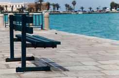 Bench deck with sea view, Zakinthos, Greece Royalty Free Stock Photography