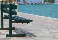 Bench deck with sea view, Zakinthos, Greece Royalty Free Stock Image