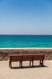 Bench deck with tranquil sea view Stock Photos