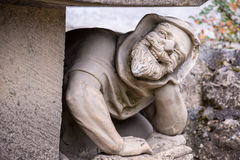 A bench decorated with the male figures at Lichtenstein Castle, Germany Stock Photography