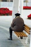 bench den gammala parken för mannen Royaltyfri Bild