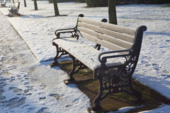 bench den snöig london parken Arkivfoton