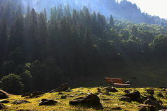 A bench destined for holiday goers to relax and chill as a king. A night camp at Sonamarg, kashmir, India., our wait all through cold, dark and chilly night for Royalty Free Stock Images