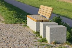 Bench on a dike Royalty Free Stock Photography