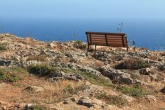 Bench in Dingli, Malta, highest point of the island.  Royalty Free Stock Photography