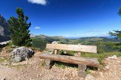 Bench in Dolomites Stock Photo
