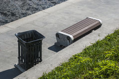 Bench on the embankment. In the summer afternoon Royalty Free Stock Photo
