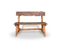 bench En bois des planches et des rondins rugueux banc rustique d'ecologi images libres de droits
