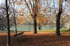 Bench en el Parco del río Po, Turín, Piamonte, Italia de Valentino Fotos de archivo libres de regalías