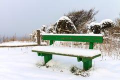 Bench en invierno en Ahrenshoop, Alemania foto de archivo libre de regalías