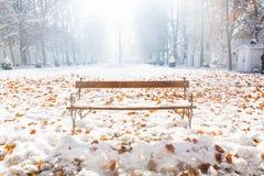 Bench en la nieve con las hojas de otoño anaranjadas en el parque de Zrinjevac, Zagreb, Croacia, Europa Imagen de archivo libre de regalías