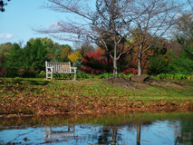 Bench in the Fall. View of a bench on a lake, fall colors and foliage stock photo
