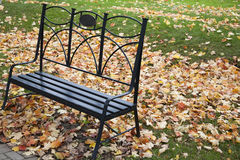 A bench and fall colors. An empty bench in the park surrounded by colorful leaves Royalty Free Stock Images