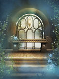 The bench in fantasy garden Stock Images