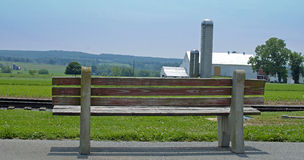 Bench on a farm Stock Image
