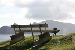 A bench. On the Faroe Islands Royalty Free Stock Photography