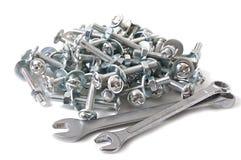 Bench ferramentas, parafusos, porcas, arruelas Fotografia de Stock Royalty Free
