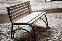 Bench the first snow Stock Photography
