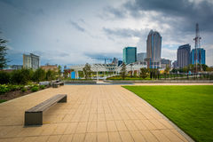 Bench at First Ward Park, in Uptown Charlotte, North Carolina. Stock Photography