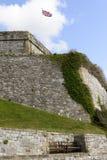 Bench and flag at Royal Citadel, Plymouth Stock Image