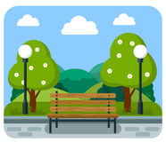 Bench in a flat style Royalty Free Stock Photography