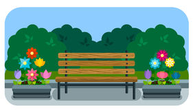 Bench and flower bed in a flat style Royalty Free Stock Images