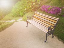Bench in the flowers garden. Artificial light was added for warn tone Stock Photos