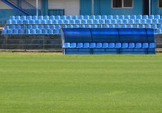 Bench for football reserves Royalty Free Stock Photos