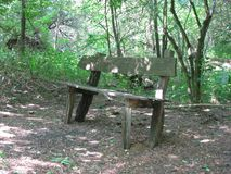 Bench in the forest. Carska Bara is located 17 kilometers south of the town of Zrenjanin, in the west-central part of the Serbian section of Banat, near the Royalty Free Stock Images