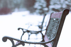 Bench. Forged bench standing on the street under the snow Stock Image