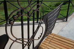 Bench in the form of twin hearts stock photo