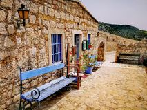 The Blue Bench. Bench in fort Hvar Island Croatia stock images