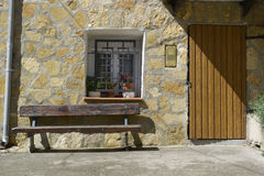 Bench and front door Royalty Free Stock Photography