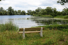 Bench in front of Havel river landscape at summer time Royalty Free Stock Photo